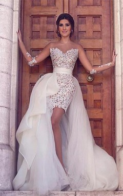 Gorgeous Long Sleeve Lace Appliques Prom Dresses 2016 Tulle Short Skirt
