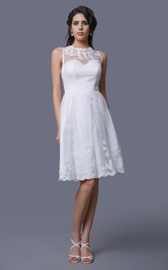 Sleeveless A-Line Short Dress With Illusion Straps and Lace Appliques