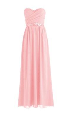 Sweetheart Criss-cross Sequined Pleated Chiffon A-line Dress