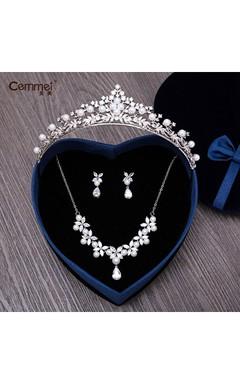 Marriage Bridal Zircon Headdress Crown Necklace Earrings Set Marriage Wah Chang Wedding Supplies