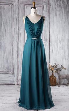 A-line Floor-length V-neck Backless Chiffon Dress With Beading
