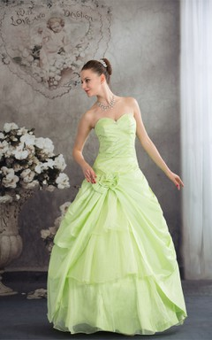 Sweetheart Pick-Up Ball Gown with Flower and Sequins