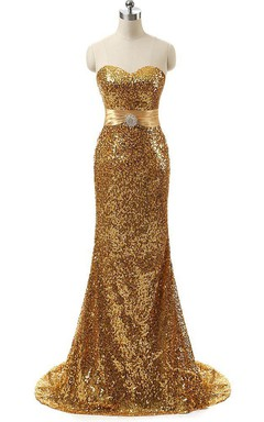 Mermaid Sweep Train Dress with Allover Sequins