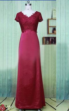 Trumpet Short Long Lace&Satin Dress With Appliques