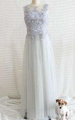 2016 Gray Long Prom Gray Long Tulle Bridesmaid Gray Lace Bridesmaid Long Lace Long Tulle Prom New Arrive Dress