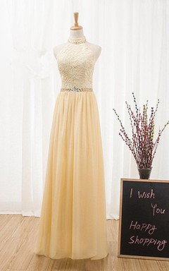 High-neck Sneath Lace Dress With Chiffon Skirt And Beading