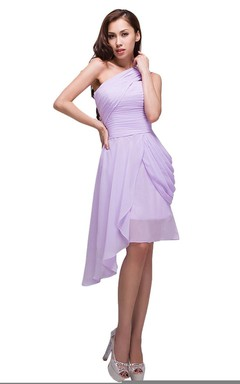 Asymmetrical One-shoulder Ruched Chiffon A-line Dress With Drapping