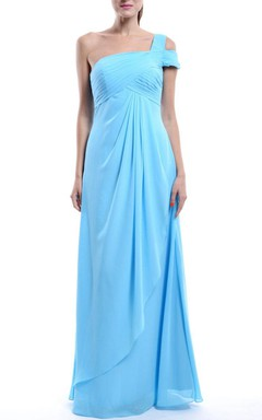 Long One-shoulder Chiffon&Satin Dress