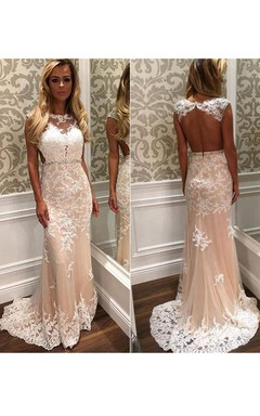 Sleeveless Appliques Sweep Train Satin Lace Dress