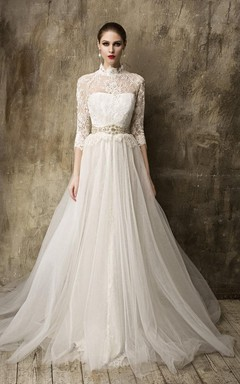 High Neck 3/4 Sleeve A-Line Tulle Wedding Dress With Detachable Tulle Skirt