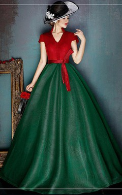 Ball Gown A-line Short-sleeved V-neck Sleeveless Dress