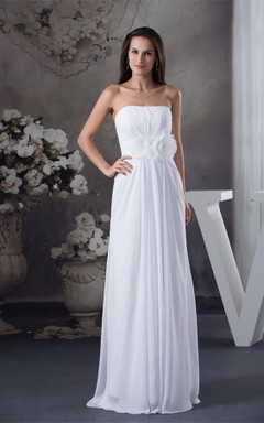 Ethereal A-Line Chiffon Floor-Length Dress with Pleats and Flower