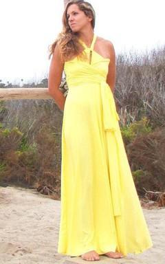 Dahlia Lemon Yellow Long Octopus Convertible Wrap Gown Dress