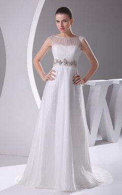 Chiffon Sleeveless Floor-Length Dress With Beaded Waist