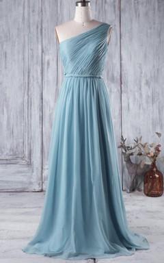 Long One-shoulder Chiffon Dress