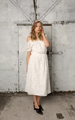 Bohemian Style Off-Shoulder Tea-Length A-Line Wedding Dress