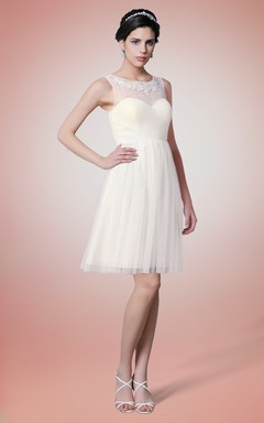 Knee Length High Neck Tulle Bridesmaid Dress