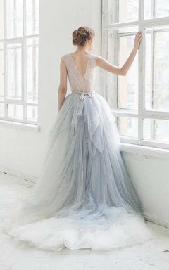 Bell Sleeve Tulle Satin Lace Wedding Dress