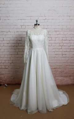 High Collor A-Line Tulle Wedding Dress With Long Sleeves