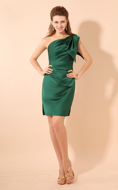 Impressive Asymmetrical One-Shoulder Bodycon Dress With Side Ruching