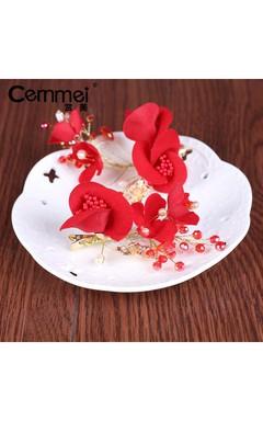 Bride Red Headdress Korean Sweet Temperament Simple Velvet Rose Tasting Dress