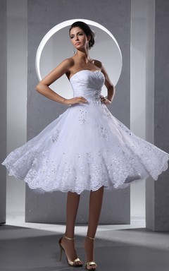 A-Line Crisscross Front Gathering Dress With Lace Appliques