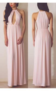 High Quality Halter A-line Evening Dress Sleeveless Floor-length