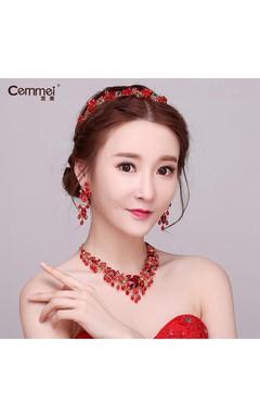 Korean Bride Headdress Red Crystal Flowers Wedding Hair Ornaments Wedding Dress Dress Accessories