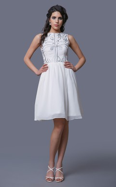 Jewel Neck Sleeveless A-Line Knee Length Chiffon Dress With Embroidery