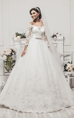 Delicate Tulle Lace Appliques 2016 Wedding Dress 3 4-Length Sleeve Beadings