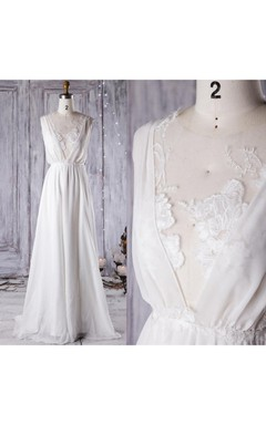 A-Line Floor-Length V-Neck Chiffon Lace Dress With Low-V Back