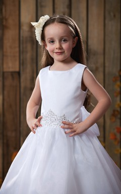 Simple Sleeveless A-Line Flower Girl Dress With Beaded Waist
