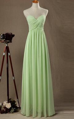 Floor-length Strapped Sweetheart Chiffon&Satin Dress