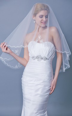 One Tier Mid Veil With Satin Trim
