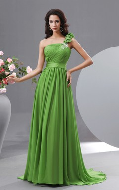Chiffon Floral A-Line Graceful Gown With Crystal Details