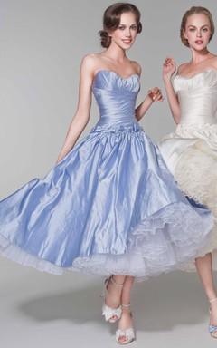 Short Knee-length Taffeta Dress