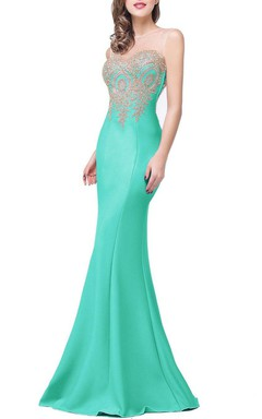 Sleeveless Illuion Neckline Long Satin Mermaid Dress