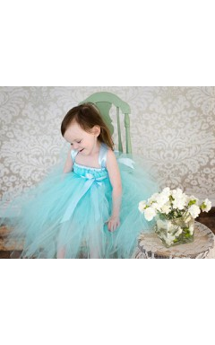 Aqua Blue Sleeveless Pleated Ruffled Tulle Flower Girl Dress With Satin Sash