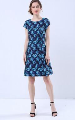 Open Back Cap Sleeve Scoop Neck Knee Length Dress