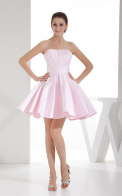 Blushing Strapless Short Mini Dress with Pleats