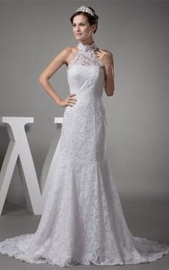 Graceful High-Neck Backless A-Line Dress with Beading and Appliques
