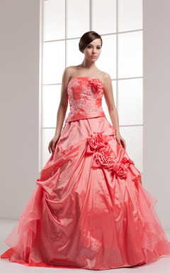 Strapless Pick-Up Appliqued Ball Gown with Flower and Beading