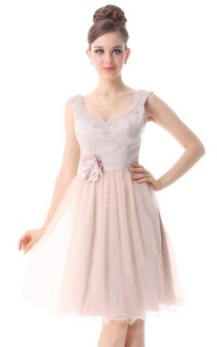 Cap-sleeved A-line Dress With Floral Detail