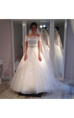 Short Sleeve Off-the-shoulder Tulle Ball Gown With Beaded Waistline