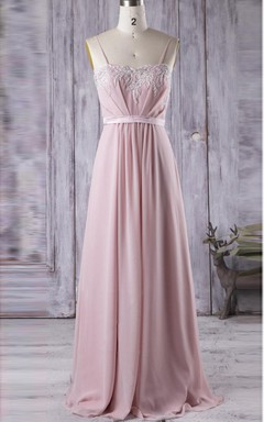 Floor-length Spaghetti Strapped Sweetheart Chiffon&Lace Dress