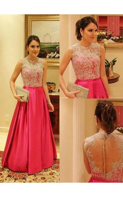 Bateau Elegant Lace Prom Dress A-line Aplliques Taffeta Womens Evening Gowns