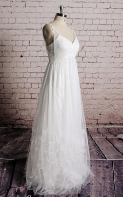 Special Skirt Empire Tulle Wedding Dress With Lace Bodice and Ruffles