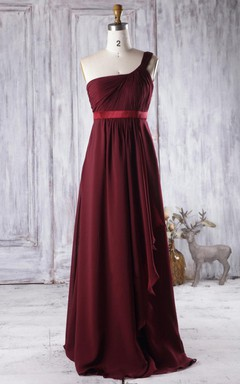 A-line Floor-length One-shoulder Chiffon Dress