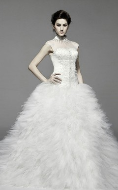 Magnificent Ruffle Tulle Gown With Tiered Organza Skirt and Jeweled Waist