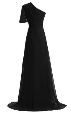 One-shoulder Asymmetrical Chiffon Dress With Beadings